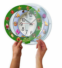 """5 IN 1 Musical Clock 12"""" Change from Christmas Easter Halloween Decorations NEW"""