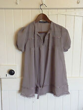 Ladies Short Sleeved Taupe Top with Pussy Bow Size 10