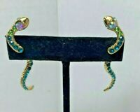 Betsey Johnson Serpent Snake Mukti Color Jeweled Front Back Earrings NWT $35.00