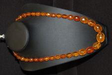 Halskette echter Bernstein, durchsichtig mit Facettenschliff, Länge 56cm, 42g
