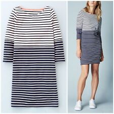 New WH972 Boden Ladies Tunic Dress Navy Striped Stretch Cotton Slim Fit Size 10