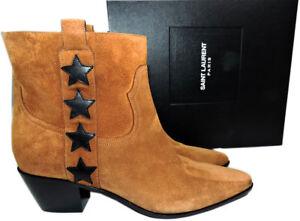 Ysl Saint Laurent Rock 38.5 Star Boots Brown Suede Ankle Booties Low Heel Shoe