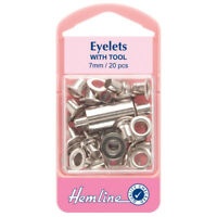 Hemline 20 x 7mm Eyelets with Tool - Silver - H437SIL