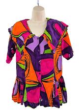 Women S Vintage D.D. Designs Purple Orange Colorful Ruffle Top Shoulder Pads Gc!