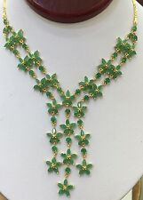 14k Solid Yellow Gold Dangle Pendant Necklace 15.80CT Natural Emerald 17 Inches