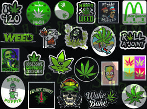 22 individual weed theme 420 Weed Buds Stoned Joint MJ Kush Sticker Decals C