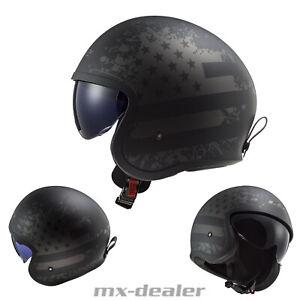 2021 LS2 OF599 Spitfire Black Flag Matt Motorrad Helm Jethelm Sonnenblende Urban