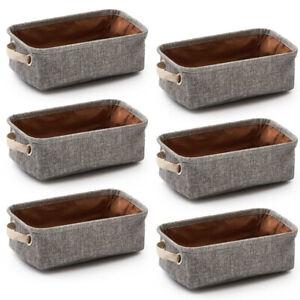 6pc Small Storage Bins Baskets Foldable Drawer Dresser Desktop Organizer Cubes