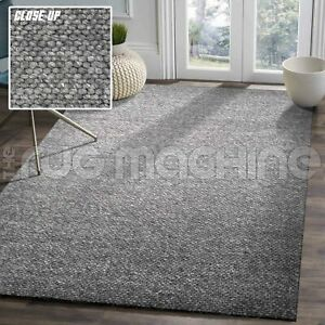Clarence Charcoal Grey Hand Woven Wool Modern Floor Rug 3 x Sizes **NEW**