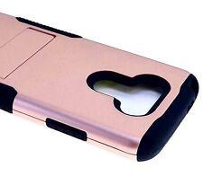 For LG G5 - HARD&SOFT RUBBER HYBRID ARMOR CASE COVER ROSE GOLD / BLACK KICKSTAND