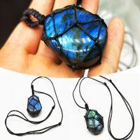 Women Men Natural Pendant Moonstone Necklace Stone Rope Wrap Crystal Specimen