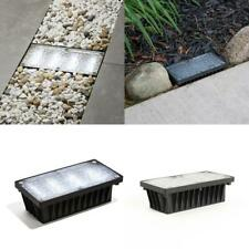 Solar Brick Landscape Path Light, 8x4 Recessed Cool White With 12 Leds