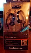 New Audio Technica Sonic Sport In Ear Head Phones Hooks Clip On WATERPROOF IPX5
