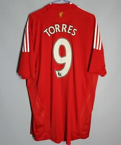 LIVERPOOL ENGLAND 2008/2009/2010 HOME FOOTBALL SHIRT JERSEY ADIDAS #9 TORRES