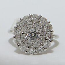 NEW 18K WHITE GOLD 1.82ct ROUND BRILLIANT CUT DIAMOND CLUSTER DRESS RING