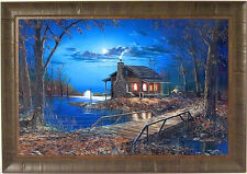 END OF THE ROAD by Jim Hansel 24x34 FRAMED PRINT S/N L/E Log Cabin Lake Moon