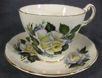 Regency Bone China Tea Cup & Saucer Set Yellow White Roses Purple Flowers