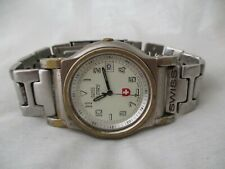 Swiss Military Swiss Made Watch Silver Toned Round White Face WORKING!