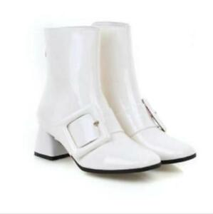 Fashion Mid Heel Pointy Toe Ankle Boots Buckle Women's Patent Leather Shoes Size