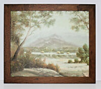 Country Landscape Scene 20 x 24 Oil Painting on Canvas Walnut Finish Frame