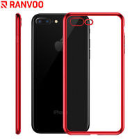 RANVOO For iPhone X 7 Plus 8 Plus Red Case Ultra Slim Clear TPU Rubber Gel Cover