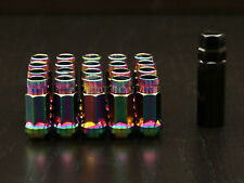 20pc Tuner Racing Lug Nuts - 12x1.5 - Cone Seat - Neochrome - with Socket Key