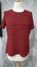 Red Textured Short Sleeve Top from Berkertex size 16