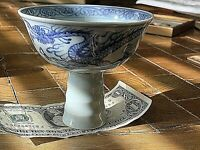 "Vintage Replica Chinese Dragon Blue&White Porcelain Stem Bowl. 4""dia, 3.75""h"