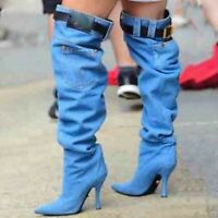 Women Denim Slouch Stiletto Pointed Toe Belt Sexy Thigh High Boots Shoes Pull On