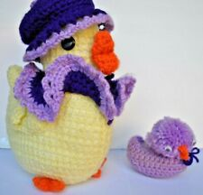 Crochet Duck Yellow Stuffed Animal Handcrafted Vintage Easter Decor w/ duckling