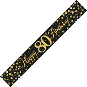 80th Birthday Banner Party Decoration Black & Gold Age 80