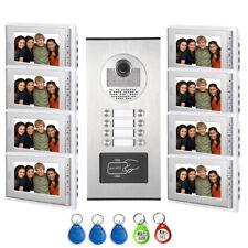 "8 Units Apartment intercom system 7"" Monitor Video Intercom Door Phone ID Keyfob"