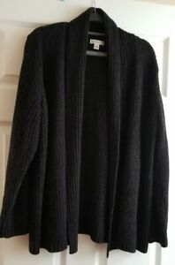 Croft & Barrow open front chenille cable knit sweater.  Black . EUC