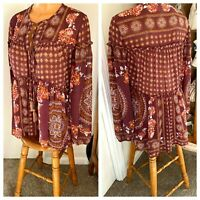 KNOX ROSE ROMANTIC MAROON FLORAL TIERED PEASANT BLOUSE TOP HIPPIE BOHO SZ S