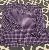 Madewell Women's Plaid Bow Sleeve Popover Top Blouse size L