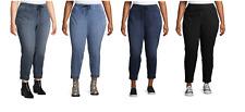 Terra & Sky Women's Plus Size Knit Denim Joggers