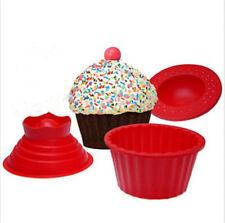 3 Pack Giant Big Silicone Cupcake Cake Mould Top Cupcake Bake Set Baking Mold G#