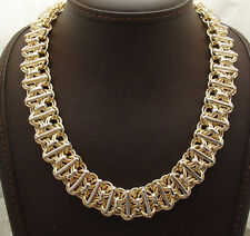 Technibond Bold Reversible Railroad Chain Necklace 14K Yellow Gold Clad Silver