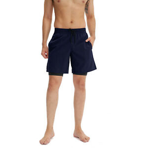 Men Dual Layer Shorts Jogging Gym Pants Sports Fitness Bottoms Pocket 2 in 1