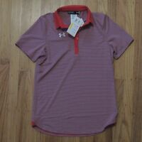Under Armour Polo Shirt Womens Red Gray Striped Short Sleeve Size XS NEW $60