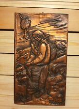 Hand made copper wall hanging plaque woman with folk costume, distaff & spindle