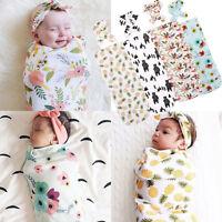 Infant Toddler Baby Swaddle Blanket Soft Sleeping Swaddle Muslin Wrap Headband