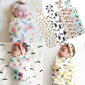 Newborn Infant Baby Swaddle Blanket Soft Sleep Swaddle Muslin Wrap Headband CX