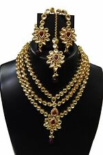 Indian Rani Haar Necklace Set Jewelry Long Gold Bridal Pearl Wedding