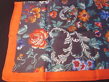 Saks Fifth Avenue Fall 2016 Floral Scarf Botanical Flowers Print Blue Orange NWT
