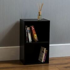 Oxford 2 Tier Cube Bookcase Display Shelving Storage Unit Wooden Stand Black New