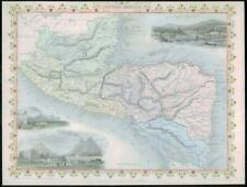 "1850 Antique Map ""CENTRAL AMERICA"" Honduras Guatemala Belize TALLIS COLOUR (43)"