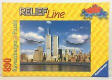 2001 Ravensburger 890 pc. Relief Line Puzzle NYC Skyline Twin Towers New York
