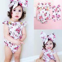 Newborn Infant Floral Bodysuit Outfit Baby Girls Romper Jumpsuit Sunsuit Clothes
