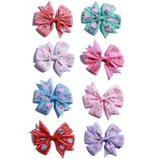 "30PCS 3.2"" Boutique Hair Bow With Flower Girls Grosgrain Ribbon HairBow NO CLIPS"